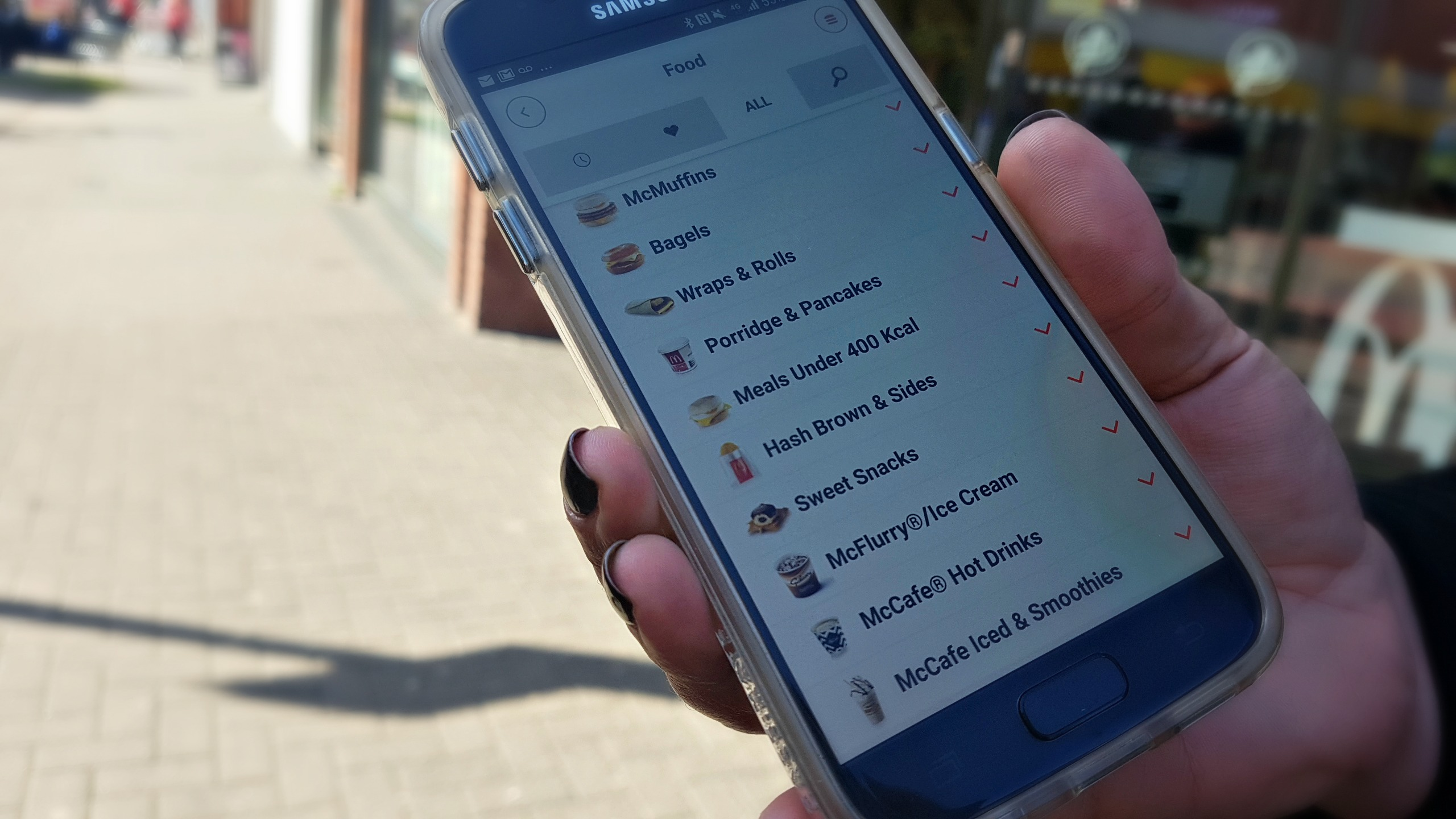 menu screen from using the mcdonald's click and collect app on a samsung phone