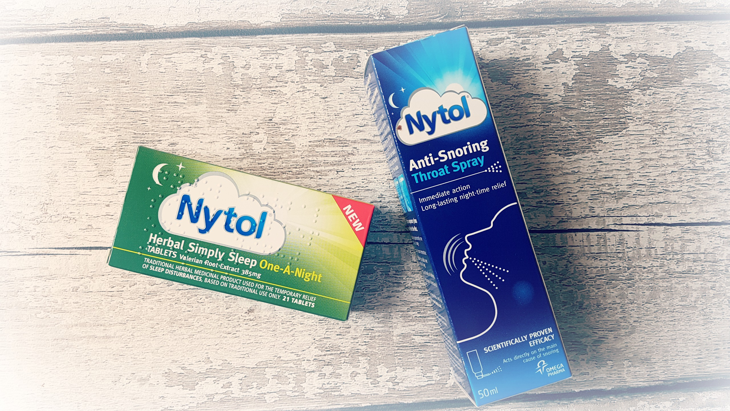 a box of nytol one a night sleep tablets and nytol anti-snoring throat spray