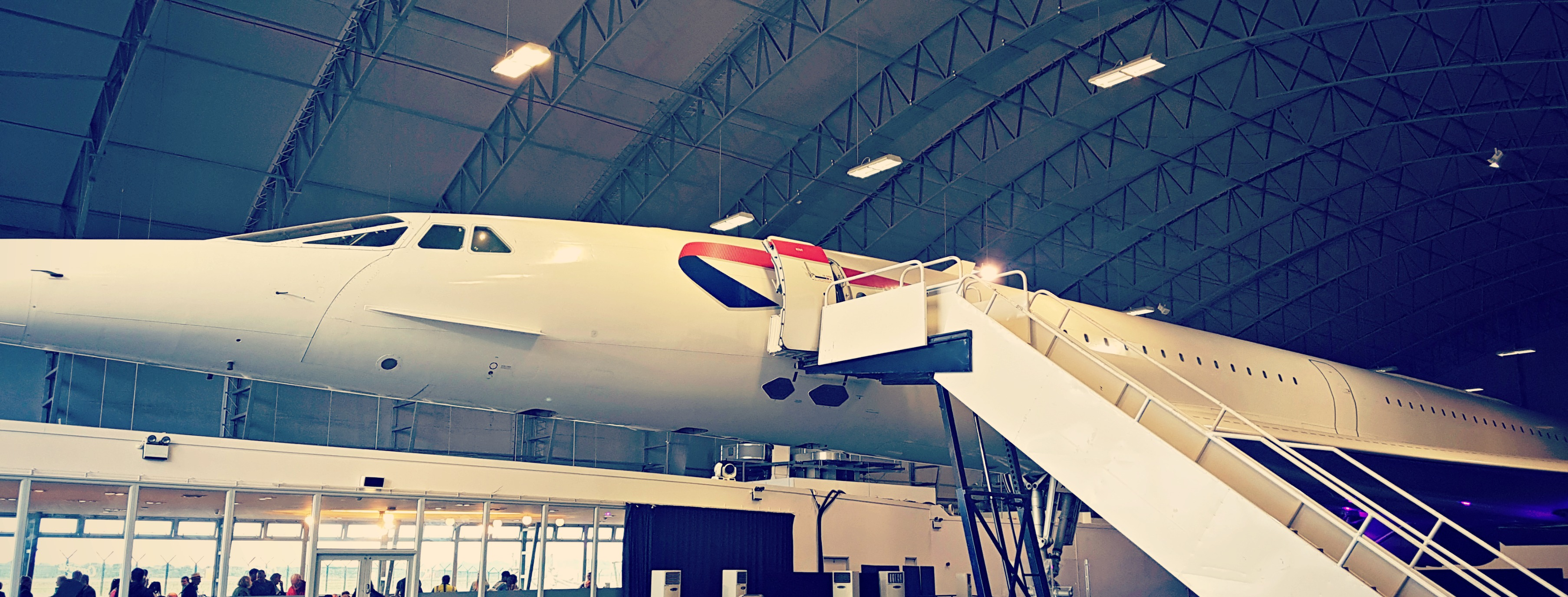 picture of concorde inside a hanger at the runway visitor park at manchester airport