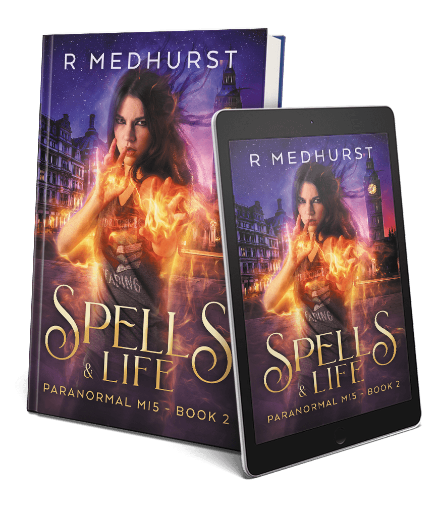 book covers of spells and life and spells and death in the paranormal mi5 series by rachel medhurst