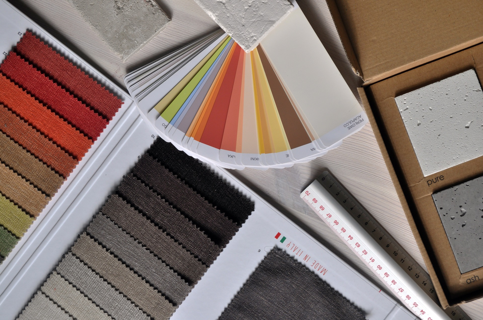 material swatches and colour charts for decorating